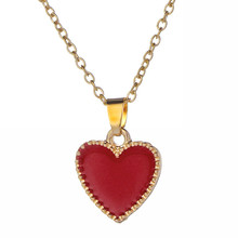 New Sweet Heart Pendant Necklace Women Dainty Red Enamel Choker Jewelry Simple Gold Chain Peach Heart Necklace Cute Gifts Female(China)
