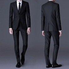 Black Gray Navy Blue Professional Suit Male Spring Wedding Best Man Groom Wear (Jacket+Pants)