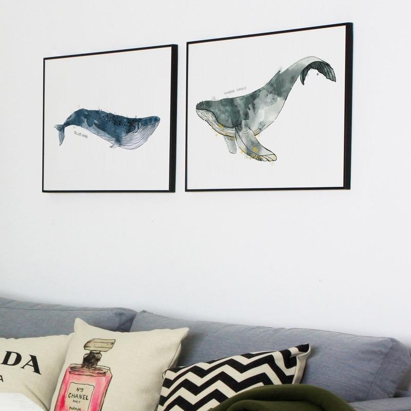 Nautical Sea Nursery Child Poster Whale Ship Canvas Wall Art Print Bedroom Decor