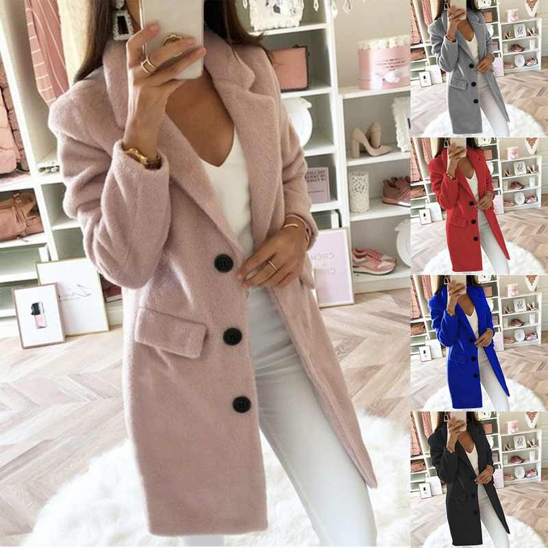 Solid Pink Blend Coat Female Outerwear Jacket Women Coat Winter Long Ladies Coat Plus Size 5XL Casual Button Clothing Tops