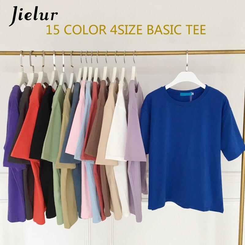 Jielur-Camiseta básica de 15 colores para mujer, camiseta informal con cuello redondo, camiseta Harajuku, camiseta Hipster coreana blanca, S-XL
