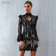 Adyce 2020 חדש נשים אביב Bodycon תחרה תחבושת שמלה שחור ארוך שרוול מיני מועדון שמלת סלבריטאים ערב מסיבת שמלת Vestidos
