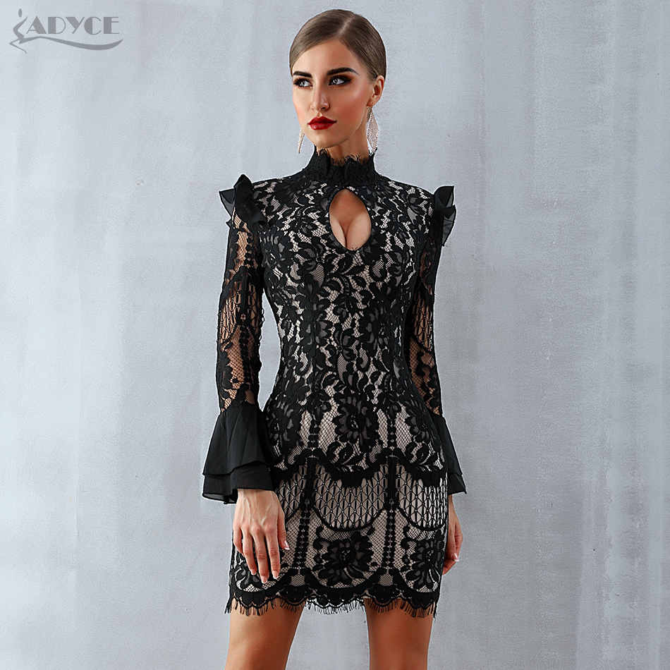 Adyce 2020 New Women Spring Bodycon Lace Bandage Dress Black Long Sleeve Mini Club Dress Celebrity Evening Party Dress Vestidos