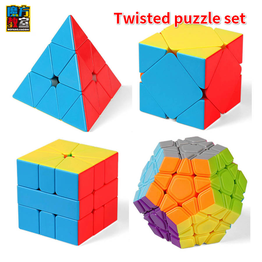 Moyu Meilong Twisted Puzzle Set WCA Official Competition Magico MFJS Set 4pcs Speed Cubes Puzzles Toys For Children
