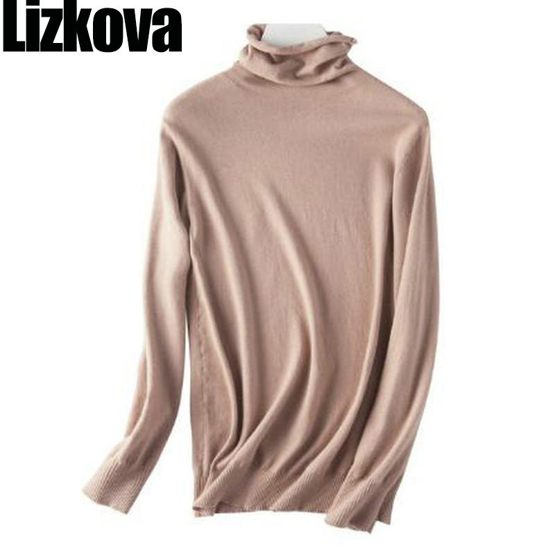 Fall Sweater Wool Solid Color Heaps Collar Pullover Sweater Korean Style Women Long Sleeve Thin Soft Sweater