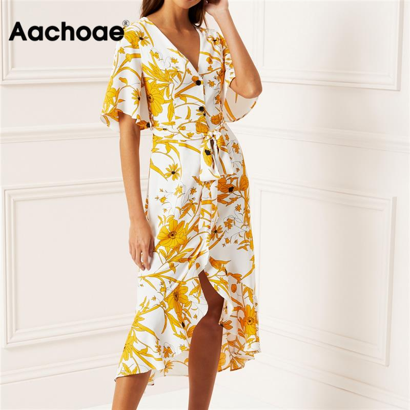 Women Floral Print Beach Dress 2020 Summer Boho Short Sleeve Ruffle Long Dress Casual Sundress Elegant Ladies Party Sashes Dress