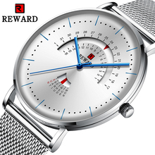 REWARD Men Watches New Luxury Brand Simple Man Mesh Strap Casual Quartz Wrist Watch Analog Week Date Waterproof Clock For Male