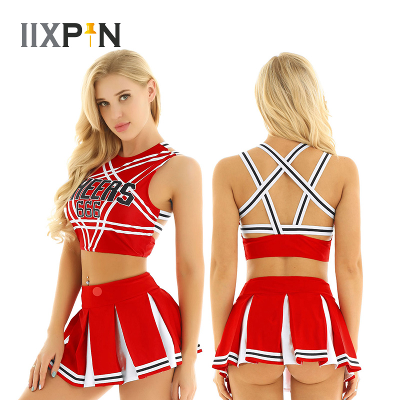 Women Charming Cheerleader Cosplay Costume Set Sleeveless Pentagram Back Crop Top With Mini Pleated Skirt Jazz Dance Costumes