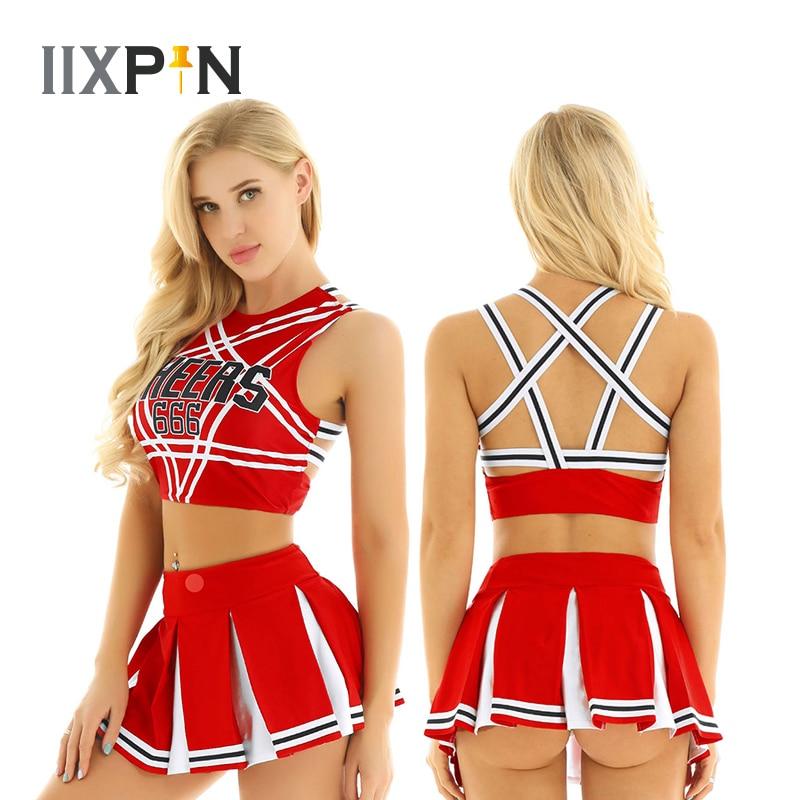 Women Charming Cheerleader Cosplay Costume Set Sleeveless Pentagram Back Crop Top With Mini Pleated Skirt Jazz Dance Costumes
