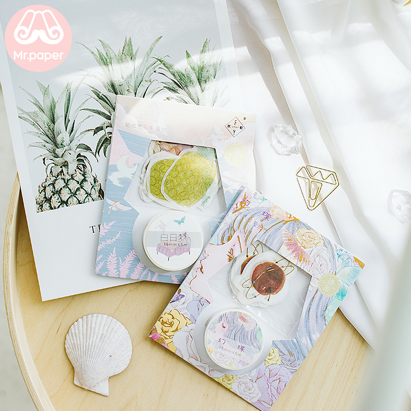 Mr Paper Gift Package Gold Stamping Stickers Washi Tapes Set Pure Heart Girls Sweet Love Stickers Scrapbooking Masking Tapes