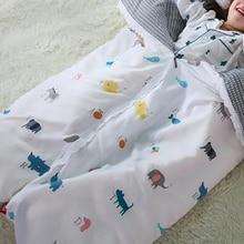 Детское одеяло в кроватку, детское Хлопковое одеяло, спальный комплект для младенца, с принтом, комфортное, съемное, для детей