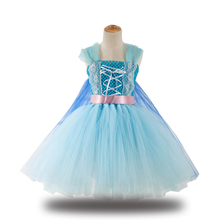 Girls Elsa Princess Costume Cosplay Dress Children Halloween Costume For Kids Christmas Party Dress Up цена и фото