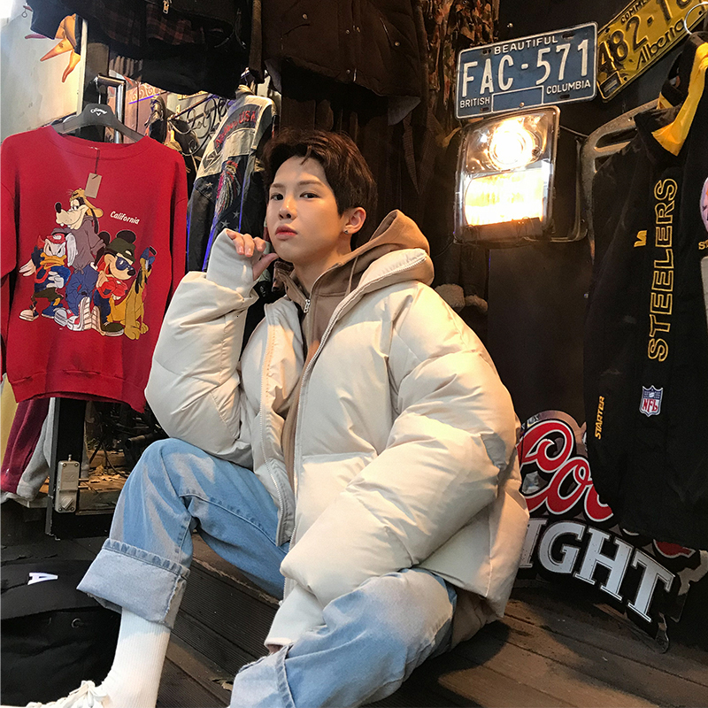 2019 Autumn And Winter New Korean Version Of The Couple European And American Style Solid Color Thick Cotton Clothing