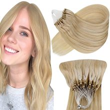 VeSunny Blonde Micro Ring Hair Extensions Real Human Hair Cold Fusion Micro Beads Hair Extensions Silky Straight 50g/50s