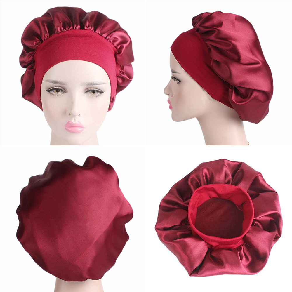 58cm-1-2-3pcs-Solid-Color-Shower-Cap-Long-Hair-Care-Women-Satin-Bonnet-Cap-Night