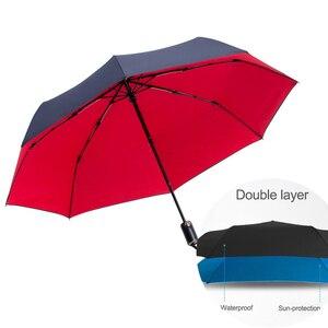 Image 5 - Tự Động Gấp Gọn Vải Dù Nam Mưa Chất Lượng Chống Gió Uv Lớn Dù Paraguas Dây Curoa Nam Sọc Parapluie 4 Màu Sắc Đề Nghị