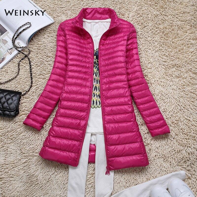 Winter Women Ultralight Thin   Down   Long Jacket White Duck   Down   Jackets Long Sleeve Warm   Coat   Parka Female Portable Outwear
