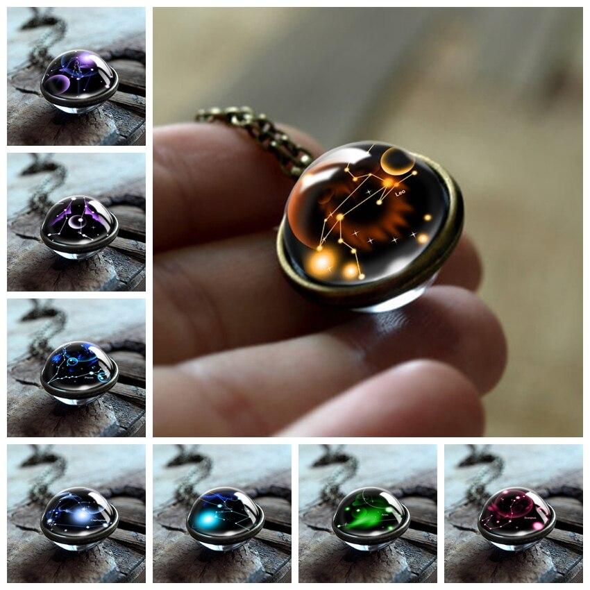 Colar de pingente de cabochão, colar com 12 constelações de vidro dupla, corrente vintage de sinais do zodíaco, joia para meninas e mulheres