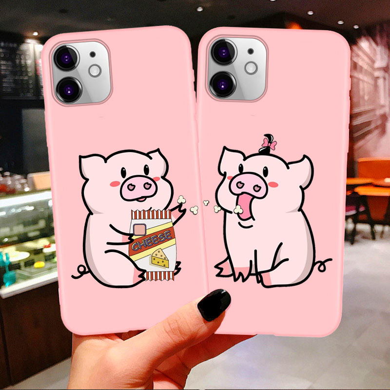 <font><b>Bff</b></font> Best Friends Couples Soft <font><b>Phone</b></font> <font><b>Case</b></font> For iphone 11 Pro Max Cartoon Pig Print Pink Tpu Cover For iPhone 7 8 Plus X XR XS Max image