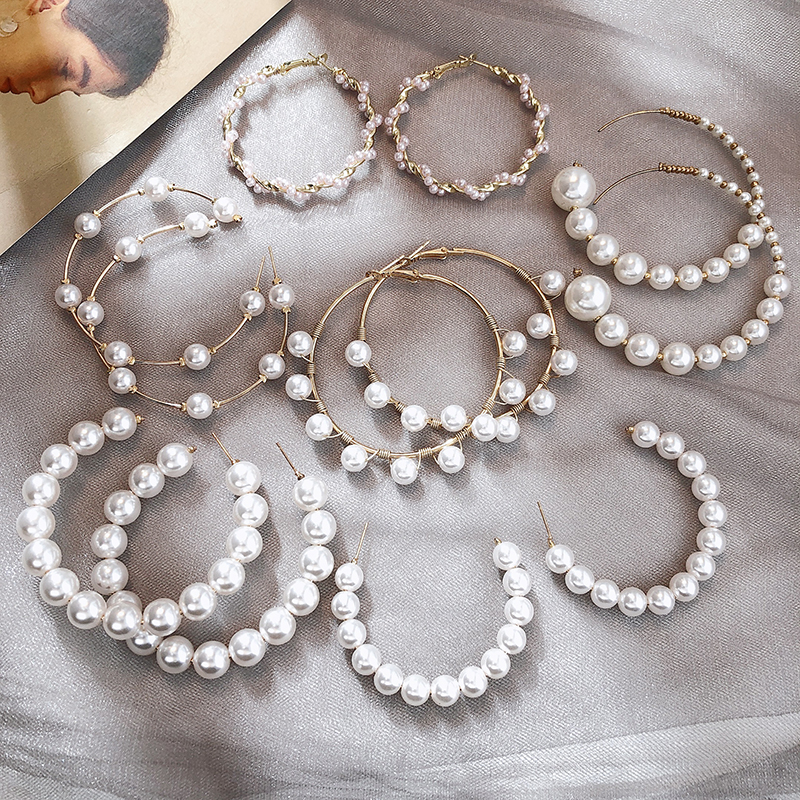 2020 Hottest Earrings For Women Geometric Pearl Earrings Gold Color Jewelry Korean Fashion Long Earrings