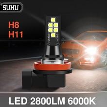 Canbus H8 H11 – lampes antibrouillard pour voiture, 2 pièces, 6000K, 2800lm, ampoules blanches sans erreur, 12V, accessoires automobiles