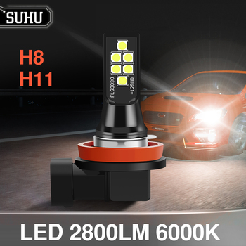 SUHU 2Pcs Canbus H8 H11 LED Car Fog Lamps 6000K 2800LM White Error Free Auto Bulbs 12V LED Headligts Fog Light Car Accessories image
