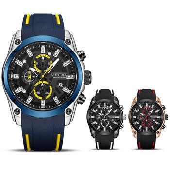 MEGIR 2020 Blue Sport Watches for Men Top Brand Luxury Chronograph Man Watch Military Quartz Clocks Luminous Relogio Masculino 6