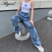 ALGUES – jean Vintage bleu pour femme, pantalon Long de Cowboy, Streetwear ample, imprimé papillon, nouvelle collection été 2020