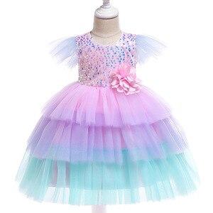 Платья принцессы с блестками для девочек, платья из тюля с цветами для крещения новорожденных, платья для девочек на день рождения, свадьбу, ...
