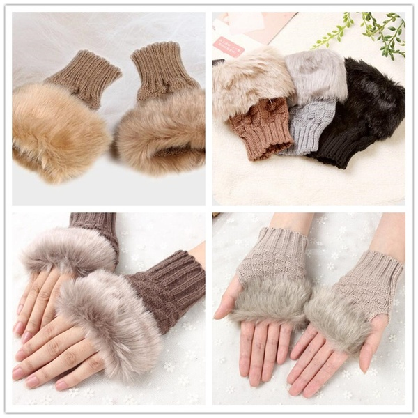 Fashion Fingerless Household Merchandises Accessories Fur Winter Warm Wrist Wool Half Finger Knitting touch screen Gloves in Household Gloves from Home Garden