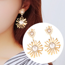 Brinco Boucle D Oreille 2019 Limited Real Spike Brincos Earing South Atmosphere Personality Sunflower Pearl Stud Earrings Women