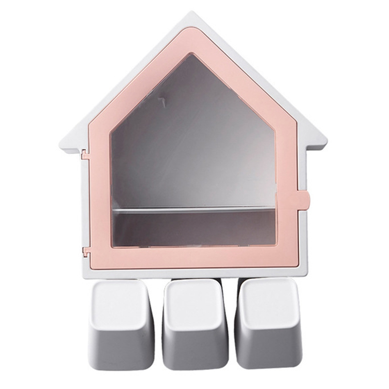 Wall-Mounted Small House Toothbrush Holder Multi-Function Three Family House Wash Cup Set Toothbrush Holder Pink image