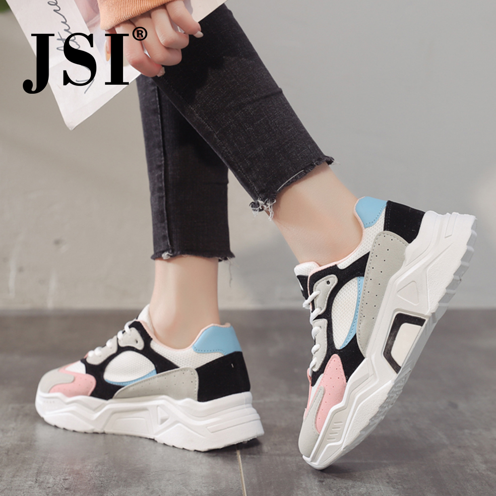 JSI spring women's sports shoes color matching round head straps women's platform shoes mesh outdoor women's running shoes JY33