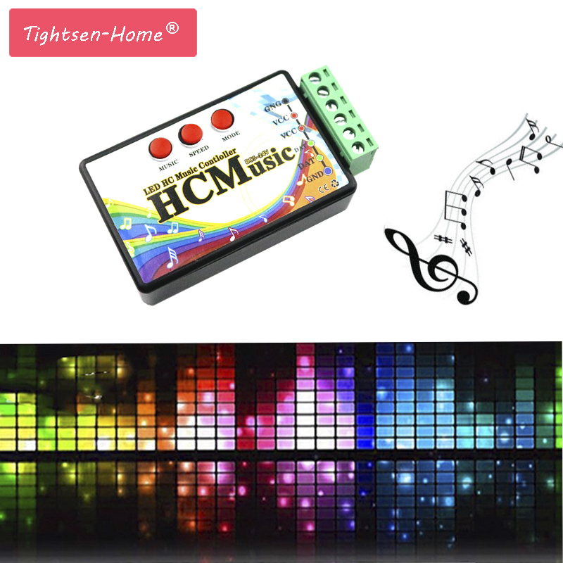 New LED Music Controller DC5V-24V WS2812b WS2811 WS2813 6803 1903 IC Digital Addressable Pixels Strip Voice Sensor HC Controller