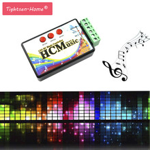 New LED Music Controller DC5V-24V WS2812b WS2811 WS2813 6803 1903 IC Digital Addressable Pixels Strip Voice Sensor HC Controller(China)