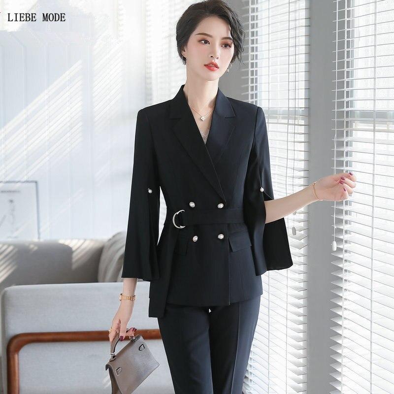 Spring Summer 2 Piece Set Women Pink Black White Formal Pants Suits Ladies Office Wear Two Piece Set Slit Sleeve Blazers Pants