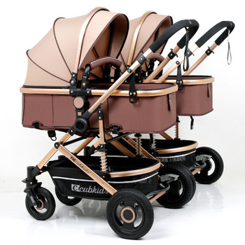 Detachable Twin Baby Stroller Can Sit Reclining Shock Folding Cart High Landscape Stroller Four Wheel Baby Stroller Baby Basket