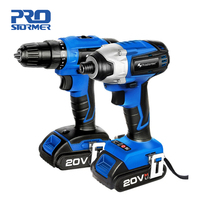 PROSTORMER 20V Electric Cordless Impact Drill Cordless Screwdriver Combo 2000mAh Wireless Rechargeable Screwdriver Power Tools