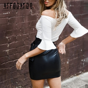 Image 5 - Affogatoo High waist pu leather skirts women Sash zipper pencil mini skirt 2018 Autumn streetwear winter black skirts short