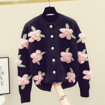3D flower embroidery sweater women 2021 spring and autumn new loose vintage handmade crochet knitted cardigan jackets 1
