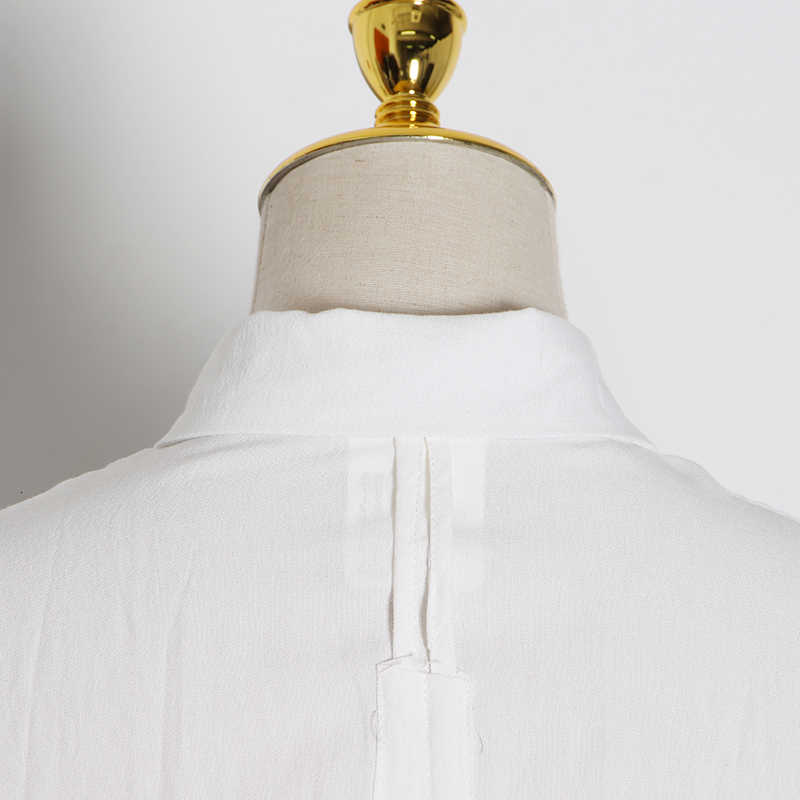 TWOTWINSTYLE תחרה עד לנשים דש צווארון חצי שרוול רופף סתיו חורף נשים של חולצות 2020 אופנה בגדי גאות