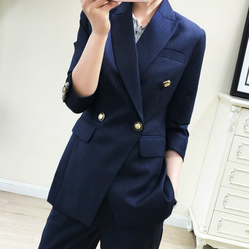 Autumn Women's Suits Pants Set High Quality Temperament Double-breasted Striped Suit Jacket Female Large Size XL-5XL Slim Pants