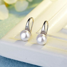 925 Silver Big Clear Pearl Earrings Simple Round White Pearl Earrings Jewelry Classic Statement Earrings for Women Elegant Gifts 2020 summer elegant pearl drop earrings for women fashion big pendant statement freshwater pearl earrings party jewelry gifts