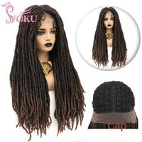 Braided Wig Lace Front Synthetic Wigs 28 inch Dreadlock Braiding Hair For Black Women Faux Locs Crochet Hair SOKU Braids Wig