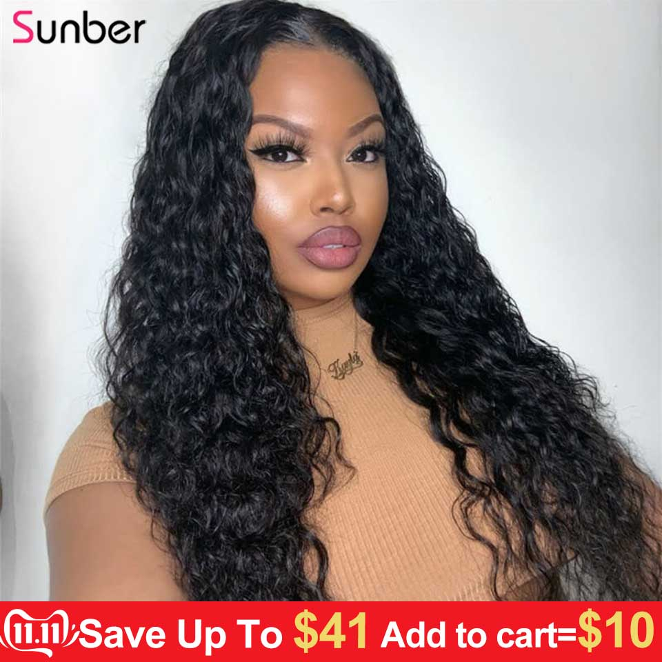 Sunber Hair Water Wave 360 Brazilian Lace Frontal Human Hair Wigs 150%/180% Density Lace Front Wig Remy Hair 10-24 Inch