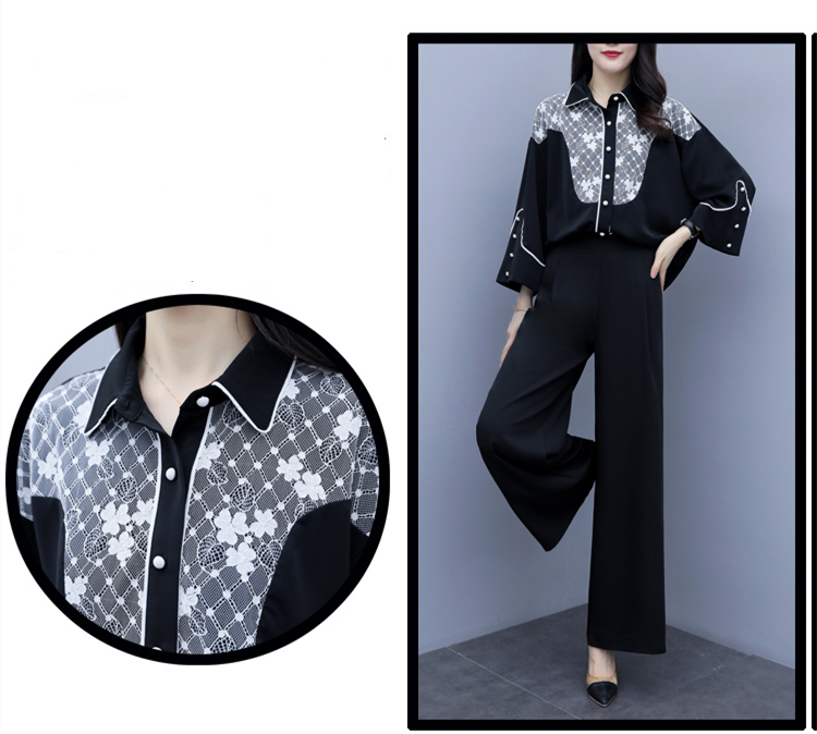 2019 Autumn Black Elegant Two Piece Sets Outfits Women Printed Tops And Wide Leg Pants Suits Office Korean Fashion 2 Piece Sets 33