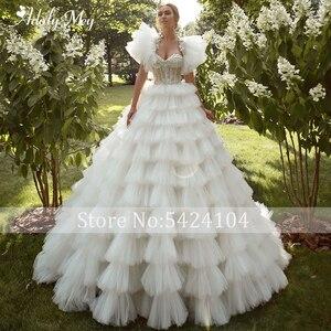 Image 3 - ロマンチックな恋人のネックアップリケ花嫁夜会服のウェディングドレス 2020 高級レースビーズのティアード裁判所の列車の王女の花嫁衣装