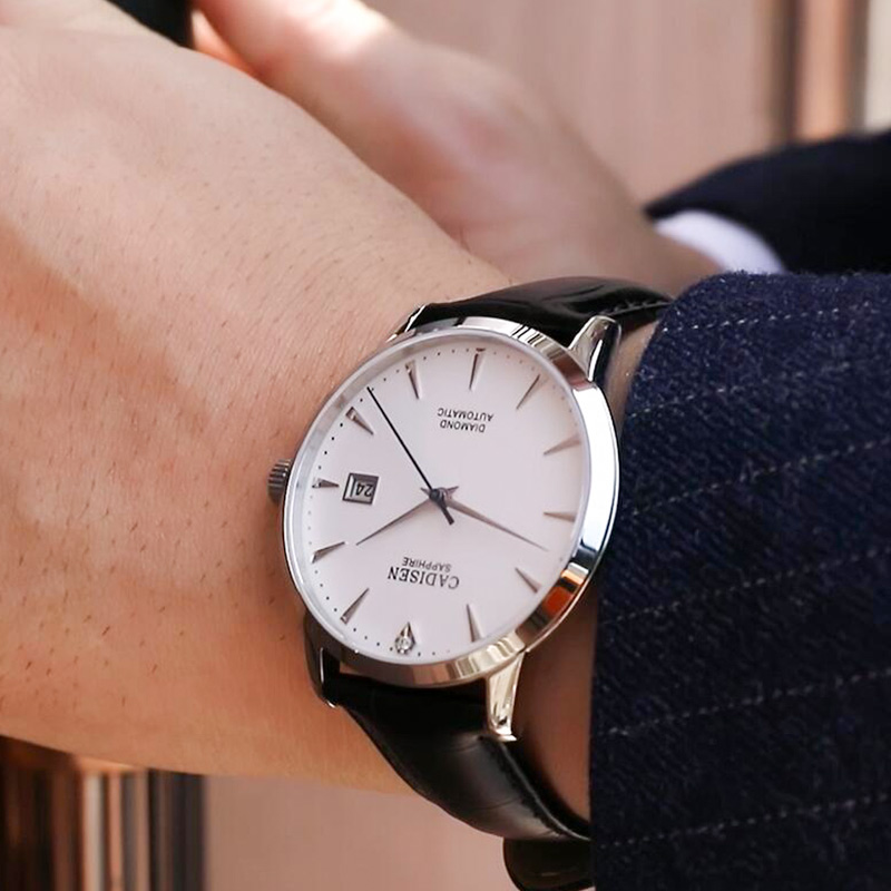 Image 5 - CADISEN Men Watches Automatic Mechanical Wrist Watch MIYOTA 9015 Top Brand Luxury Real Diamond Watch Curved Sapphire Glass Clock-in Mechanical Watches from Watches