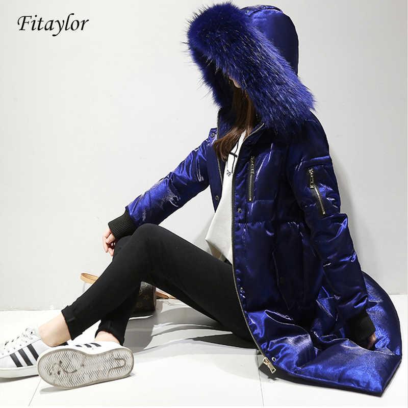 Fitaylor зимняя куртка для женщин белая утка вниз большой меховой воротник с капюшоном Длинные велюровые парки пальто женский тонкий снег Верхняя одежда