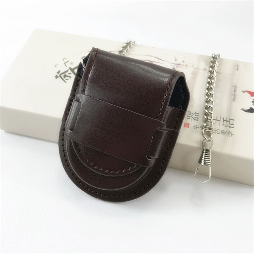 Leather Cover Vintage Classic Pocketed Watch Box Chain Pocket Watch Storage Holder Coin Purse Pouch Bag